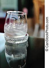 pequeno, água gelo, vidro