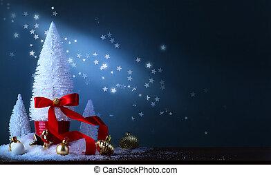 pequeno, árvore, decoração natal, ornamentos, bauble