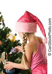 pequeno, árvore, decorando, santa, menina, natal