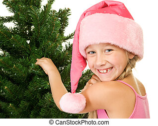 pequeno, árvore, menina, santa, natal