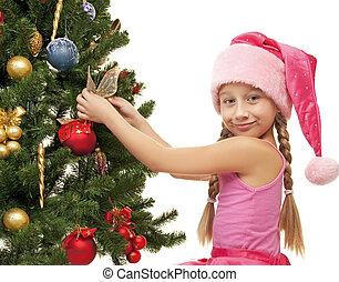 pequeno, árvore, natal, santa, decorando, menina