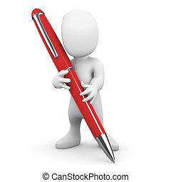 pequeno, 3d, caneta, homem, escrita
