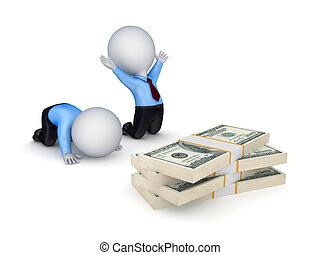 pequeno, 3d, dólar, packs., pessoas