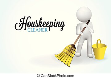 pequeno, 3d, housecleaning, pessoas