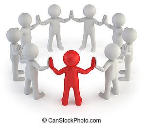 pequeno, 3d, -, líder, pessoas