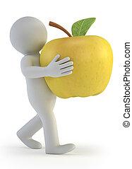 pequeno, 3d, -, maçã, pessoas