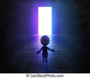 pequeno, -, 3d, portal, pessoas