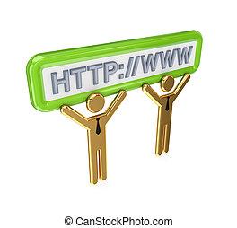 pequeno, 3d, symbols., internet, pessoas