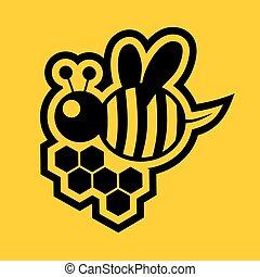 pequeno, abelha, sinal