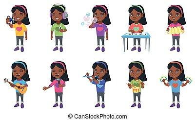 pequeno, africano, menina, vetorial, ilustrações, set.