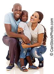 pequeno, africano, menino, e, pais