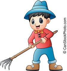 pequeno, agricultor, caricatura, segurando, pitchfork
