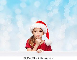pequeno, ajudante, santa, menina, chapéu, sorrindo