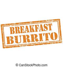 pequeno almoço, burrito-stamp