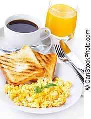 pequeno almoço, com, ovos mexidos