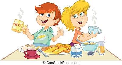 pequeno almoço, comer, caricatura, crianças