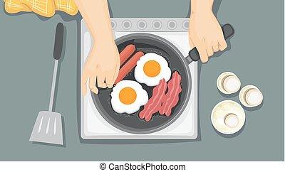 pequeno almoço, cozinhar, ilustração, mãos