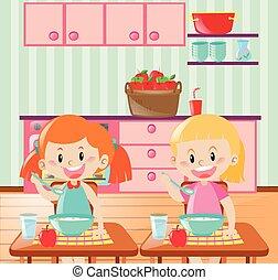 pequeno almoço, crianças comendo, dois, cozinha