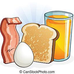 pequeno almoço, equilibrado, completo, caricatura
