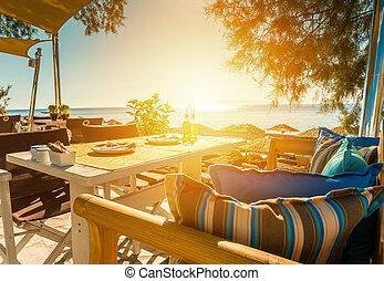 pequeno almoço, praia, de, ilha santorini