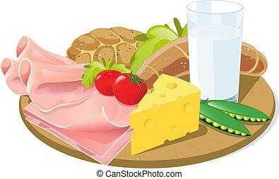 pequeno almoço, prancha, madeira