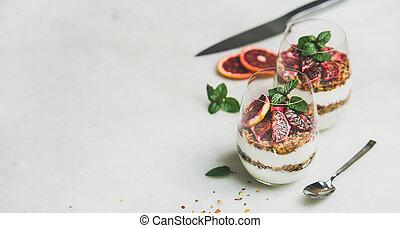 pequeno almoço saudável, com, grego, yogurt, granola,...