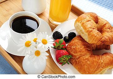 pequeno almoço, servido, ligado, um, bandeja