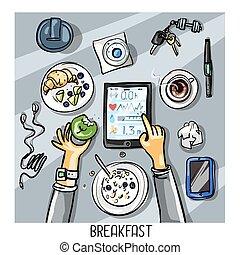 pequeno almoço, tendo, fundo, -, vista, pessoa, topo