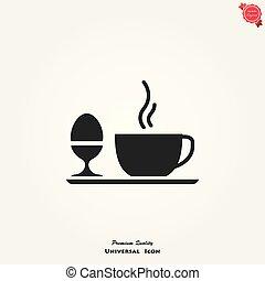 pequeno almoço, vetorial, ícone