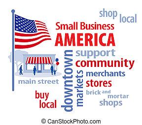pequeno, américa, bandeira, negócio, eua
