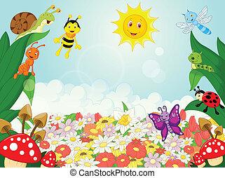 pequeno, animais, caricatura