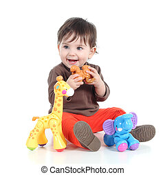 pequeno, animal, bonito, brinquedos, menina bebê, tocando
