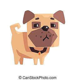 pequeno, animal estimação, pug caçam, ilustração, colarinho, sulking, filhote cachorro, caricatura, emoji