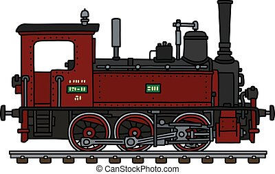 pequeno, antigas, locomotiva, vermelho, vapor