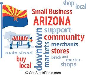 pequeno, arizona, bandeira, negócio
