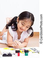 pequeno, artista, asiático, criança