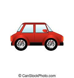 pequeno, automóvel, silueta, vermelho