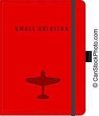 pequeno, aviação, notepad