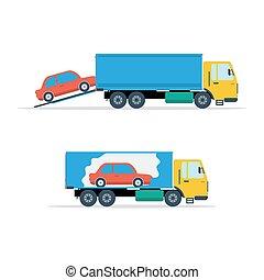 pequeno, avto, carregando, caminhão