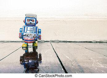 pequeno, azul, baterista, retro, robô