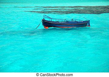 pequeno, azure, bote, mar