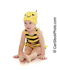 pequeno, b, chão, muito, sentando, abelha, traje, listrado, menina