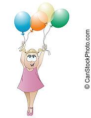 pequeno, balões, menina