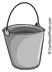 pequeno, balde, cinzento