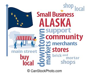 pequeno, bandeira, alasca, negócio