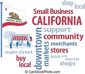 pequeno, bandeira, califórnia, negócio