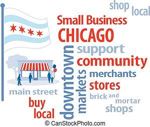 pequeno, bandeira, chicago, negócio
