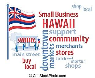 pequeno, bandeira, havaí, negócio