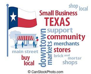 pequeno, bandeira, texas, negócio