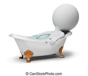 pequeno, banho, -, 3d, pessoas
